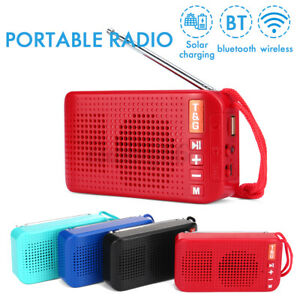Portable Solar Power bluetooth FM Radio USB Charger LED Light Rechargeable T