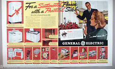 General Electric Home Appliances Centerfold PRINT AD - 1938 ~ refrigerator,stove