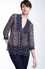 Joie S Blue Romantic Flower 100% Silk Chiffon Peasant Festival Blouse Boho Shirt