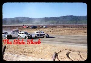 Stock car race Beech Ridge Speedway Scarborough Maine 1949 Kodachrome 35mm slide