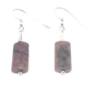 Susan Sterling Silver Pink Rhodonite Gemstone Drop Earrings