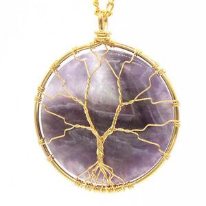 Natural Healing Crystal Quartz Wire Wrap Round Tree of Life Chakra Stone Pendant