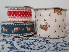 Vintage Fabric Ribbon Lot of 3, Cats, Bears, Hearts