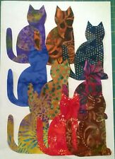 Batik Cats Large fabric Pack remnants patchwork bundle 100%cotton