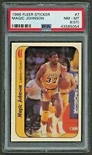 1986 Fleer Basketball Sticker #7 MAGIC JOHNSON PSA 8 (ST) NM-MT