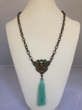 """Layered Owl Pendant w/ Tassel on Brass and Green Necklace with Claw Clasp. 24""""."""