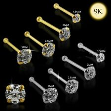 1x 22g 6mm 9K Solid White Gold 2.5mm Round CZ Nose Stud Ring Pin Bar 9KGBN050
