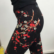 Black & Red cherry blossom extra soft leggings 8-12 UK, Japan floral flowers
