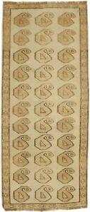 Beige Semi Antique Tribal 2'5X6 Vintage Oriental Rug Hand-Knotted Wool Carpet