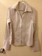 Ann Marie Paris Fitted Long-Sleeve Dress Shirt - Beige/White/Metallic, Size 42