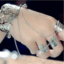 Fashion Ladies Chain Tassel Slave Bracelet Bangle Finger Ring Harness Hand
