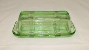 New Emerald Green Butter Dish Depression Glass Retro Art Deco Style