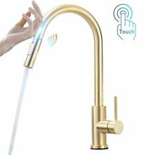 Sensor Touch Brushed Gold Kitchen Sink Faucet Pull Out Sprayer Swivel  Mixer Tap