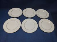 "Gibson Designs ""Black Tie"" Set/6 Bread Plates White/Gold Trim EUC"