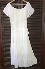 Fresh White Peasant 2X Gauze Sun Dress Airy Off Shoulder Maxi Tiered 1X 3X PLUS