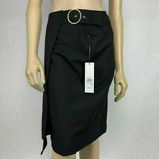 Calvin Klein Luxe Buckle Wrap Skirt Size 6 Black Knee Length Work Career NEW