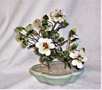 "vtg 9"" Asian handmade jade stone white flower blossom  potted Bonsai Tree vguc"