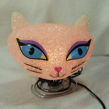 Melted Plastic Popcorn Nightlight Pink Cat Lamp 7 Inches High Girl's Bedroom
