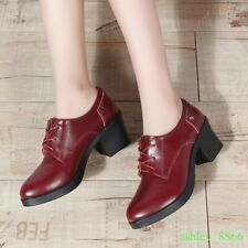 Womens Synthetic Leather Lace Up Block Heel Pumps Oxfords Shoes Autumn Office
