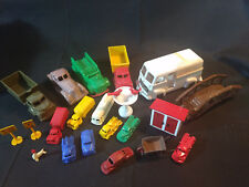 Old Vtg Toy Lot Cars, Trucks, Bridge, Outhouse, Bird Bath, Signs, Etc