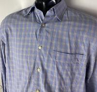 Peter Millar Designer Dress Shirt Linen Plaid Check Blue L/S Button Collar M