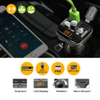 Wireless Car Bluetooth FM Transmitter With Dual USB Charger TF Card Mp3 Player
