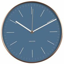 Karlsson Minimal Wall Clock Copper Surround and Blue Face