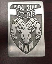 """1994- 2001 DODGE RAM TRUCK METAL 3""""x 2"""" x 1/16"""" EMBLEM (3M Peel-Off Tape Back)"""