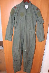 USGI USAF Green Coveralls Flyers CWU-27/P Flight Suit Nomex Size 36R 36 Regular