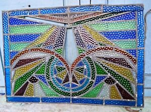 STAINED GLASS LEADED COLORED PANELS VINTAGE ART DECO ARCHITECTURAL SALVAGE OLD#4