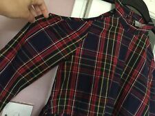ASOS WOMENS DESIGNER CHECK PATTERN COTTON DRESS SZ 10 UK CUT OUT SHOULDER BLUE