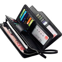 New Men's Leather Long Clutch Wallet ID Card Holder Zip Checkbook Handbag Purse