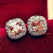 Rose Gold Filled Princess Cut Citrine Topaz Rhinstone Square Stud Earring IE40