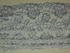 Blue lace trimming fabric embroidered stretch material trim By the yard x 6""