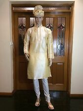 "40"" Medium Silk Sherwani Suit Indian Bollywood Mens Kurta Golden Cream KT2"