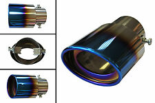 Ø 30mm - 58mm Chrome Burnt Blue Extension Oval Exhaust Tip Tail Pipe /1510