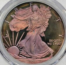 2011-W American Silver Eagle Proof PCGS PR68DCAM Colorful Toned/Rainbow