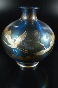 #7795: Japanese Casting copper Bird inlay sculpture FLOWER VASE Ikebana