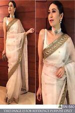 Designer Bollywood Indian Wedding Pakistani Girls Womens Saree Blouse Sari Dress
