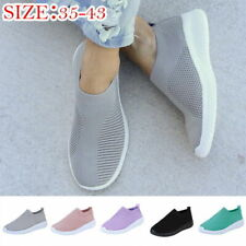 Womens Slip On Trainers Mesh Sneakers Joggers Sport Gym Comfort Sock Shoes Size