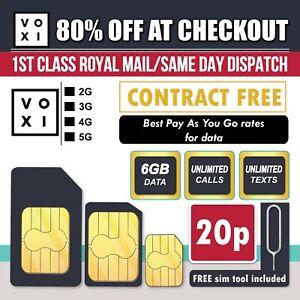 VOXI Sim Card - 6GB Data + Unlimited Calls & Texts for £10 PAYG Trio Sim Sim Pin