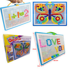 Kids Puzzle Peg Board With 296 Pegs Creative Educational Toys For Children Gift
