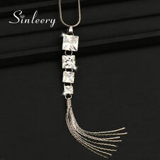 Vintage Jewelry Square Crystal Tassels Pendant Long Necklace Black Snake Chain