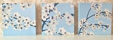 Set of 3 Canvas White Cream Floral Beige Blue Flower Blossom Tree Wall Art Home