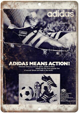 """Adidas Soccer Cleats Shoes Vintage Ad 10"""" X 7"""" Reproduction Metal Sign ZE36"""