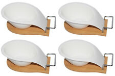 4x White porcelain tapas plate bowls with wooden tray SPECIAL OFFER PRICE