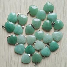 Fashion green aventurine stone Love Heart charms Pendants 50pcs/lot Wholesale