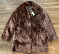 NWT Tahari Faux Fur Coat Jacket TH94203 Beaver Brown Womens Size Medium $168