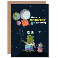 Space Balloon Monster 4th Birthday Blank Greeting Card With Envelope