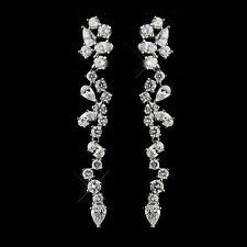 Dangle Earrings #2654 Antique Silver Clear CZ Crystal
